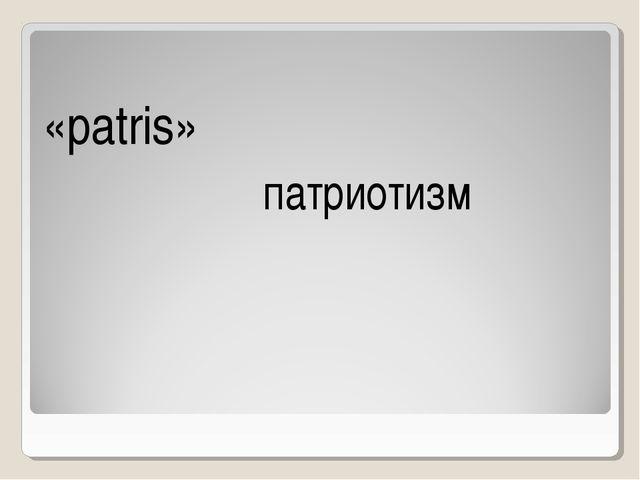 «рatris» патриотизм