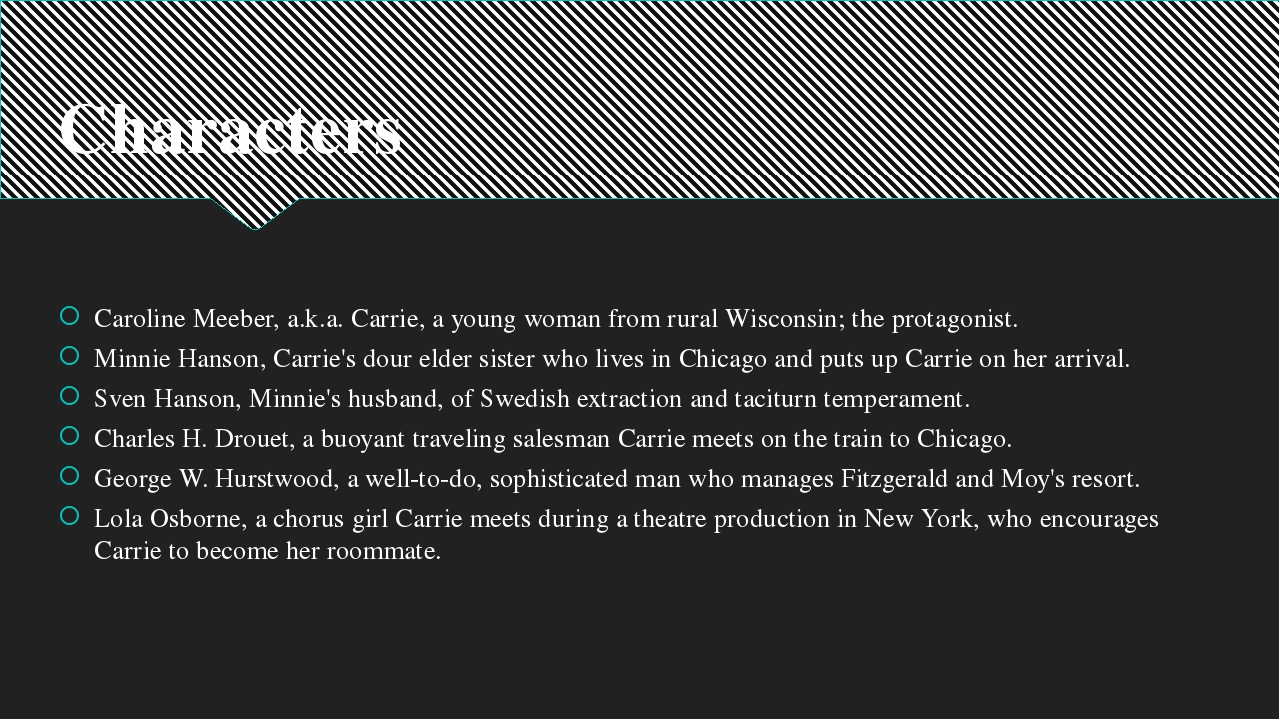 Characters Caroline Meeber, a.k.a. Carrie, a young woman from rural Wisconsin...