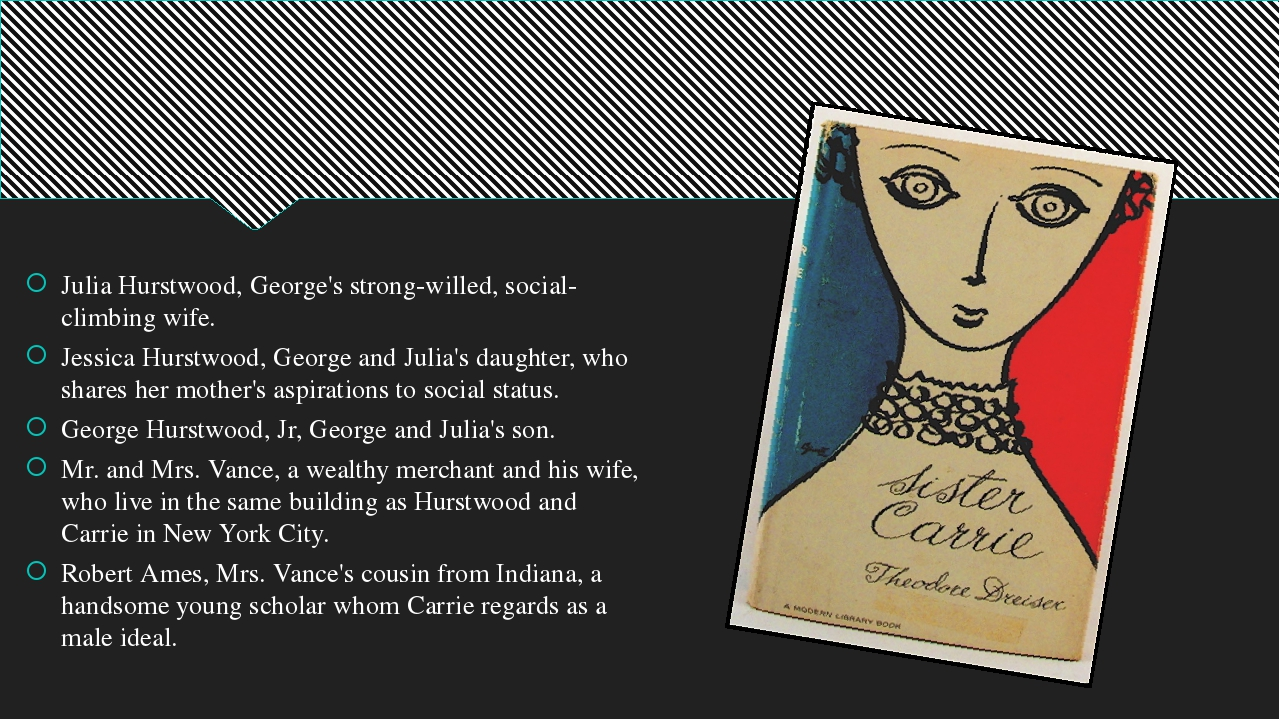 Julia Hurstwood, George's strong-willed, social-climbing wife. Jessica Hurst...