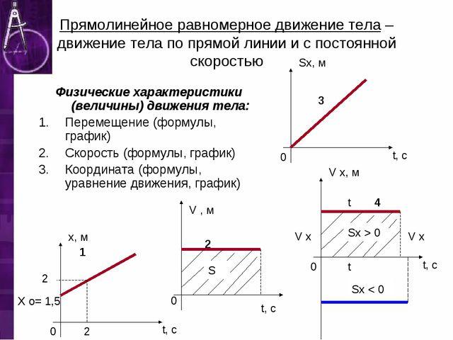 Прямолинейное равномерное движение тела – движение тела по прямой линии и с п...