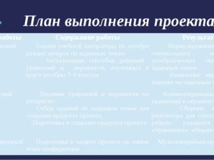 План выполнения проекта: Этапы работы Содержание работы Результат Аналитическ