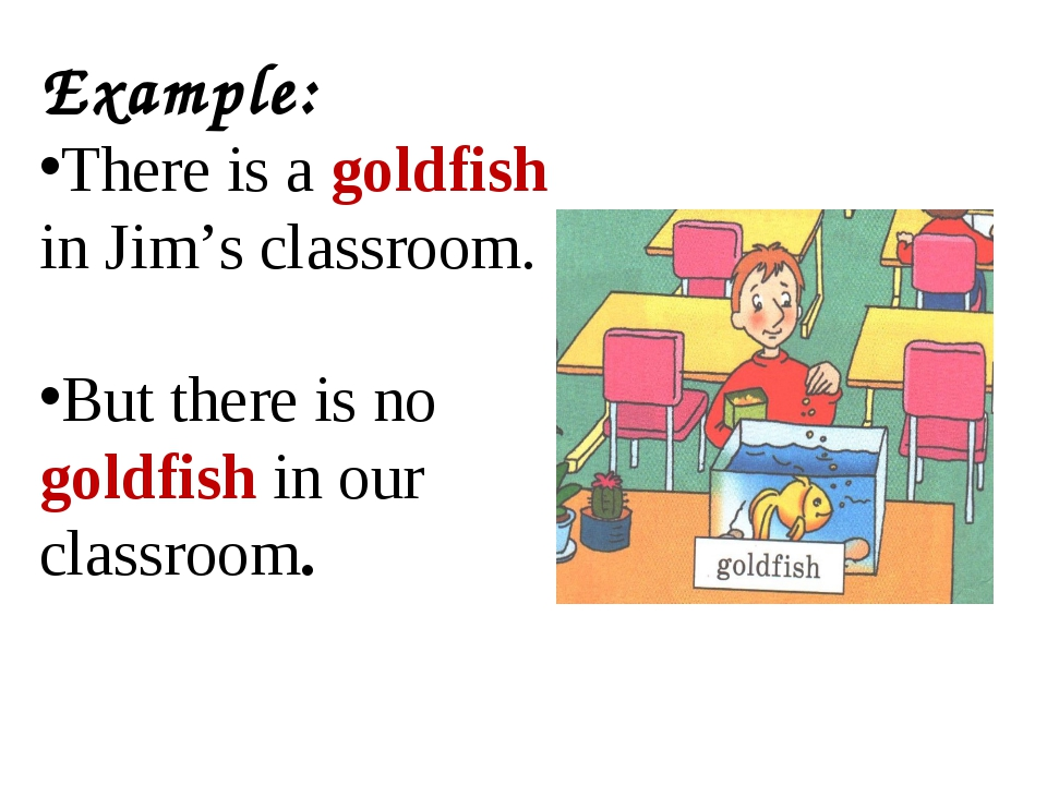 Example: There is a goldfish in Jim's classroom. But there is no goldfish in...