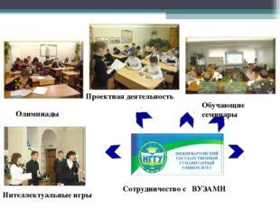 Олимпиады Обучающие семинары Проектная деятельность Интеллектуальные игры Сот