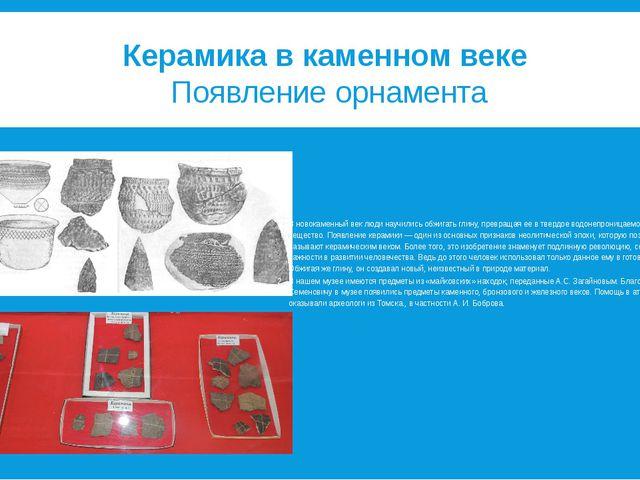 Керамика в каменном веке Появление орнамента В новокаменный веклюди научили...