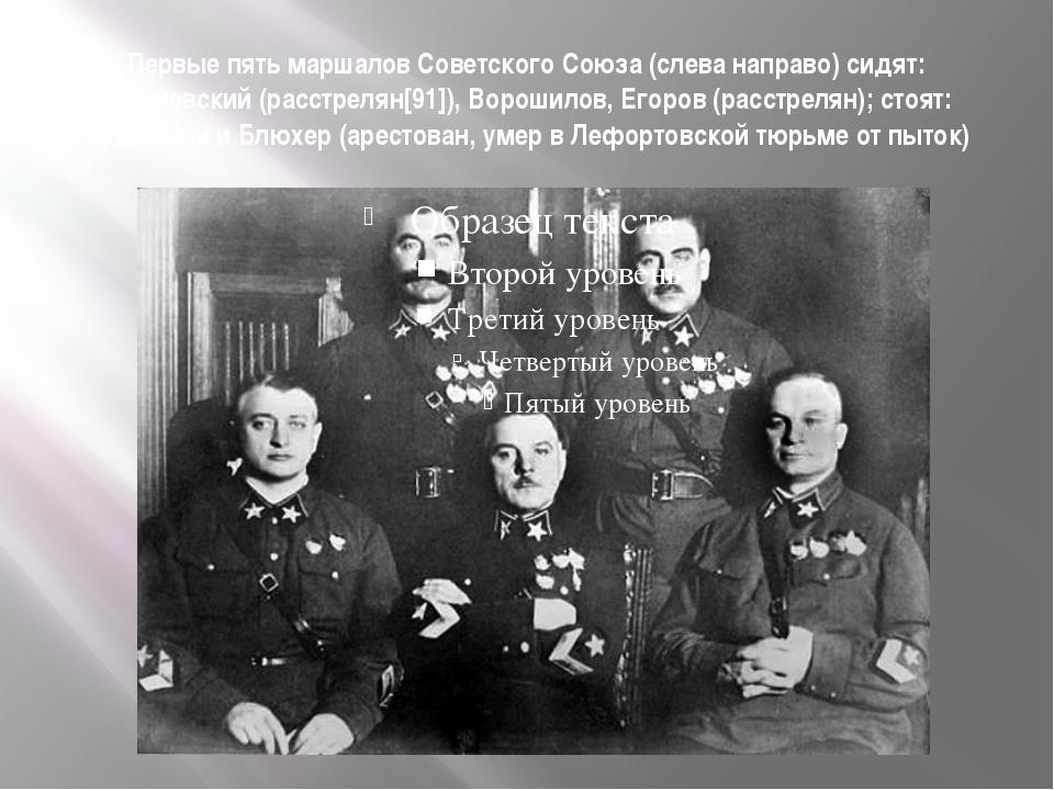 Первые пять маршалов Советского Союза (слева направо) сидят: Тухачевский (рас...