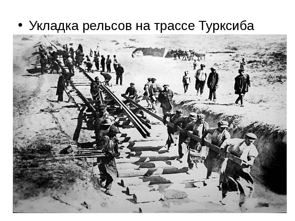 Укладка рельсов на трассе Турксиба 1929 г