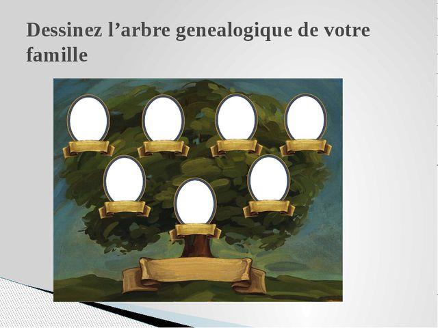 Dessinez l'arbre genealogique de votre famille
