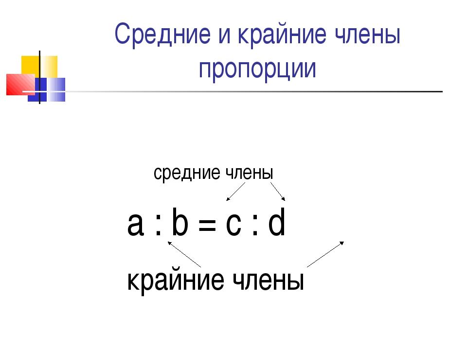Средние и крайние члены пропорции средние члены a : b = c : d крайние члены