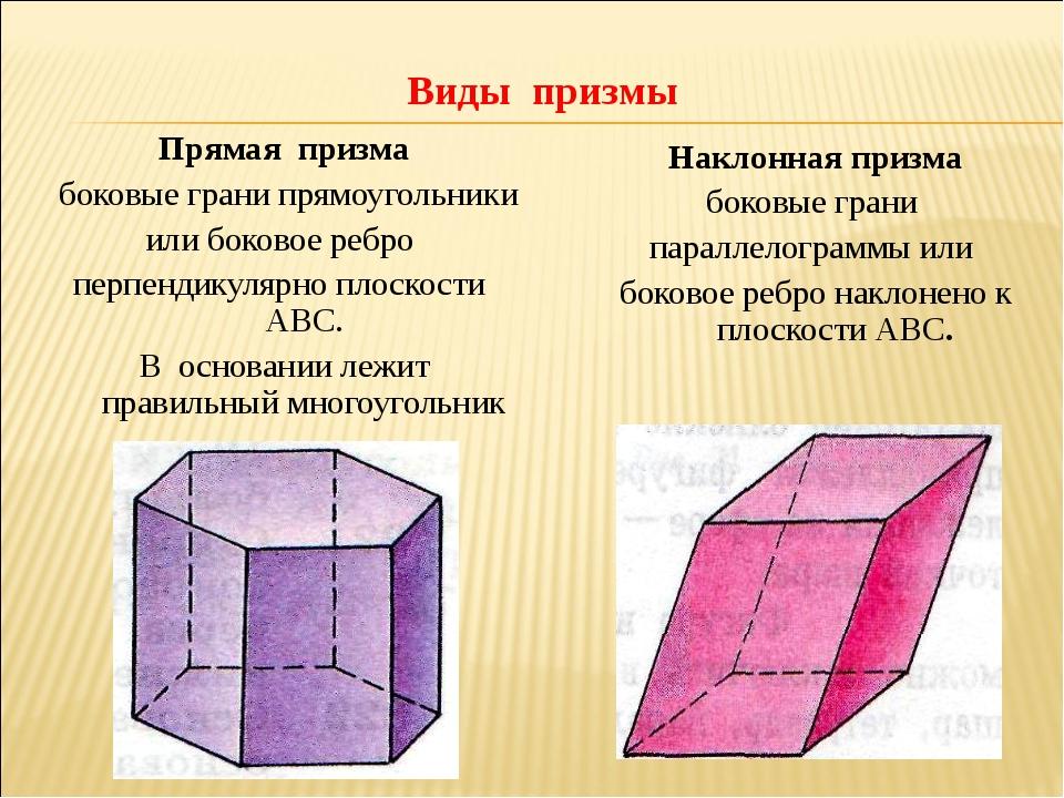 Виды призмы Прямая призма боковые грани прямоугольники или боковое ребро перп...