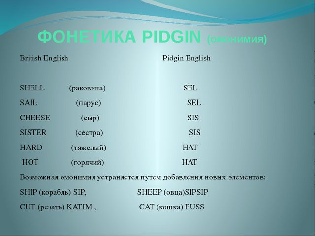 ФОНЕТИКА PIDGIN (омонимия) British English Pidgin English SHELL (раковина) SE...
