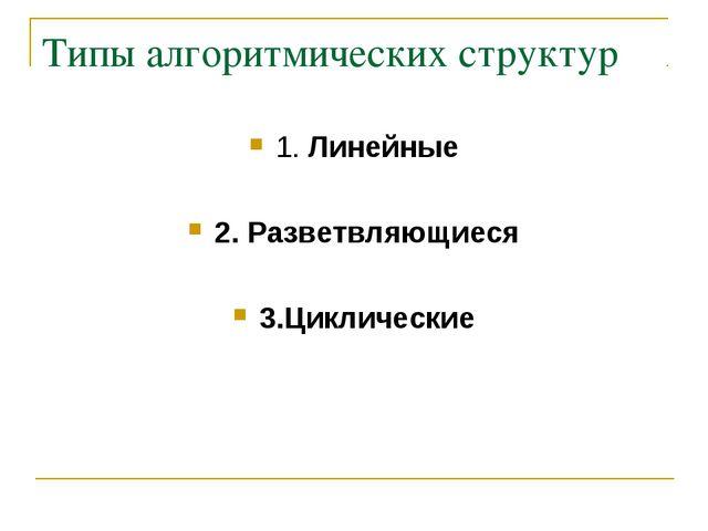 Типы алгоритмических структур 1. Линейные 2. Разветвляющиеся 3.Циклические