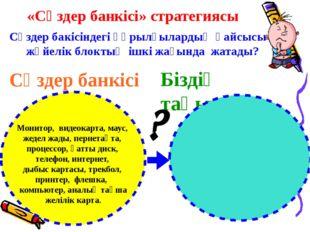 «Сөздер банкісі» стратегиясы Сөздер бакісіндегі құрылғылардың қайсысы жүйелік