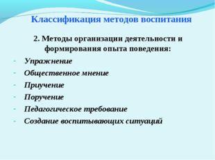 Классификация методов воспитания Упражнение Общественное мнение Приучение Пор