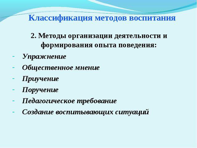 Классификация методов воспитания Упражнение Общественное мнение Приучение Пор...