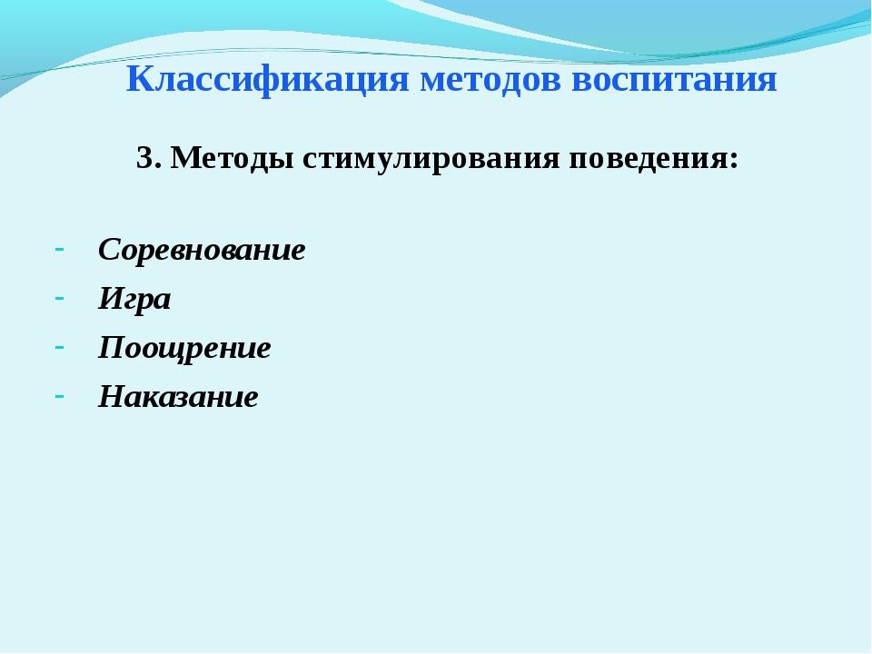 Классификация методов воспитания Соревнование Игра Поощрение Наказание 3. Мет...