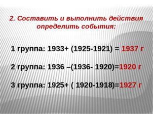2. Составить и выполнить действия определить события: 1 группа: 1933+ (1925-1