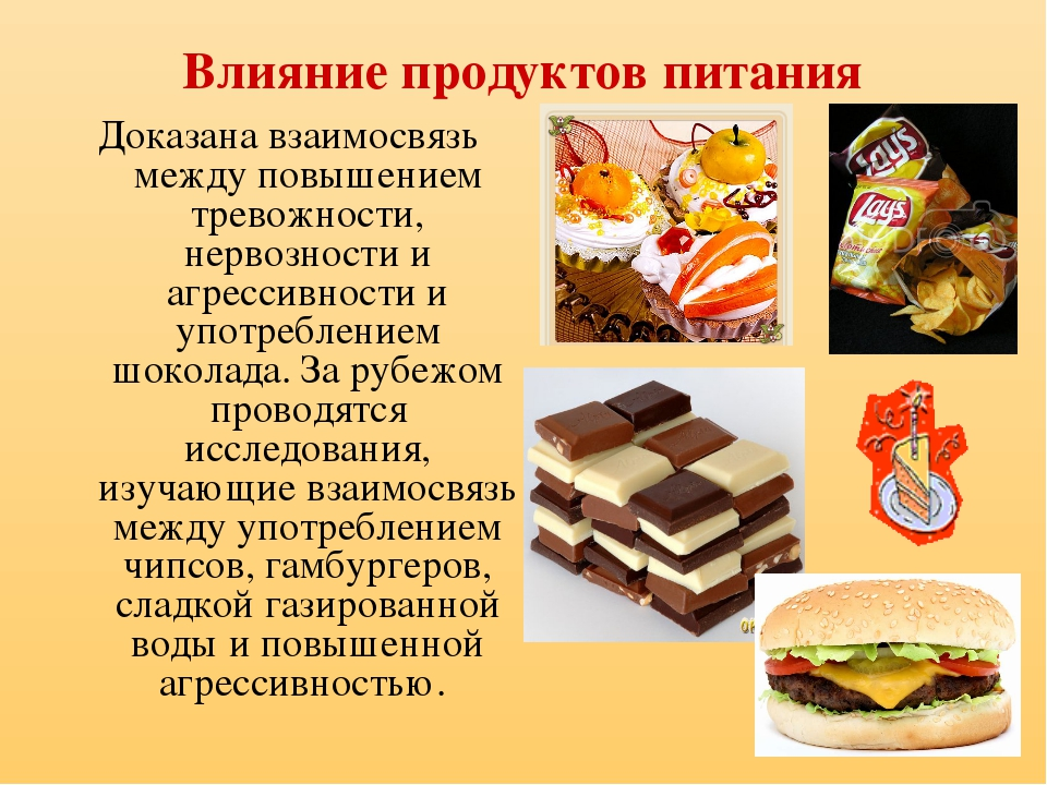 Влияние продуктов питания Доказана взаимосвязь между повышением тревожности,...