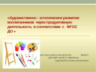 «Художественно - эстетическое развитие воспитанников через продуктивную деяте