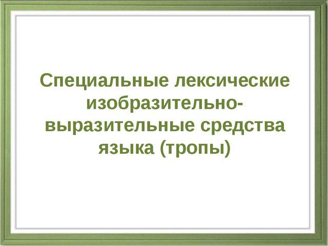Специальные лексические изобразительно-выразительные средства языка (тропы)
