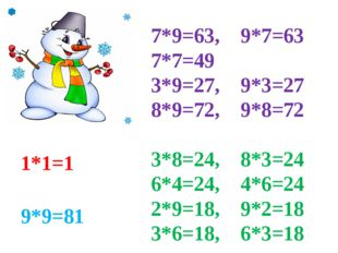 7*9=63, 9*7=63 7*7=49 3*9=27, 9*3=27 8*9=72, 9*8=72 3*8=24, 8*3=24 6*4=24, 4*