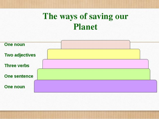 The ways of saving our Planet One noun Two adjectives Three verbs One sentenc...