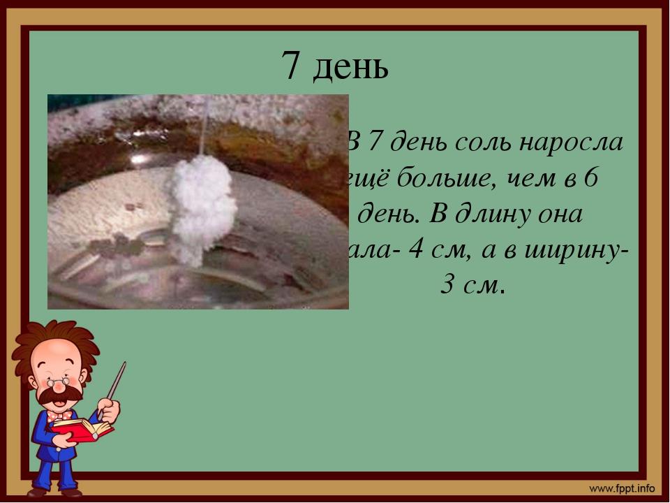7 день В 7 день соль наросла ещё больше, чем в 6 день. В длину она стала- 4 с...