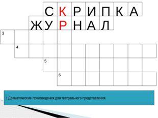 3.Драматические произведения для театрального представления. К Р 6 С Р И П К