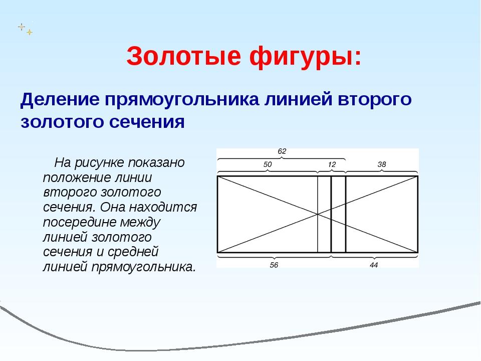 На рисунке показано положение линии второго золотого сечения. Она находится...