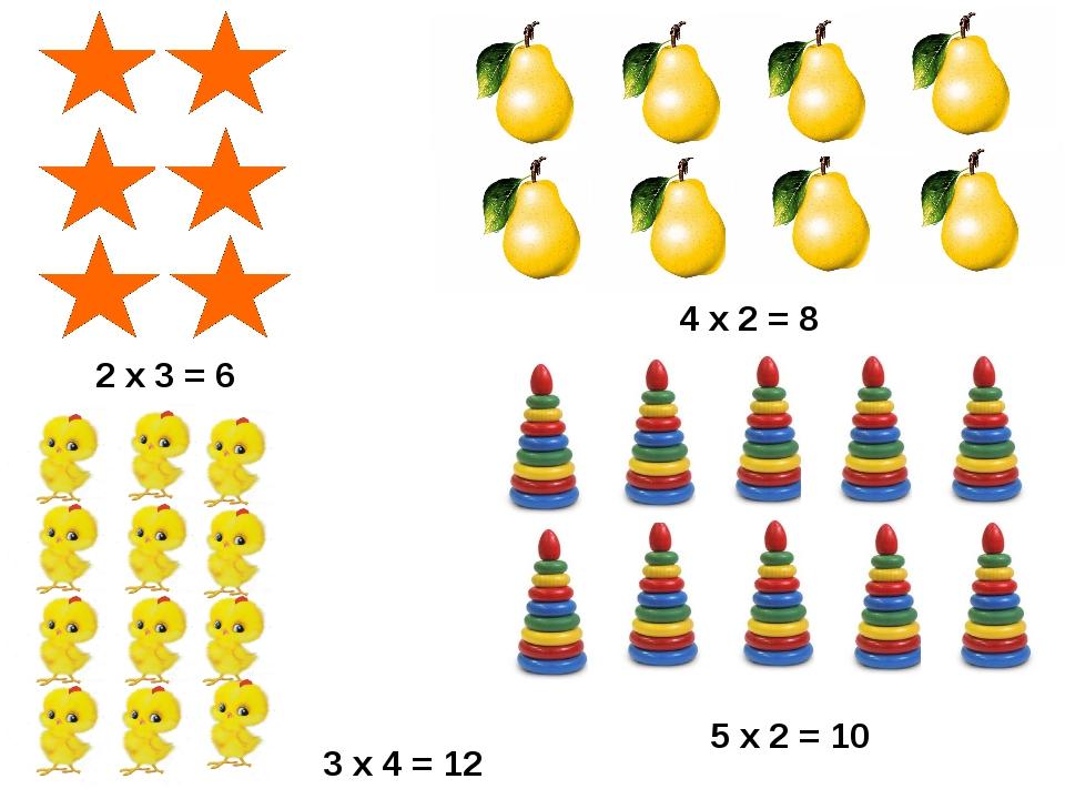 2 х 3 = 6 4 х 2 = 8 5 х 2 = 10 3 х 4 = 12