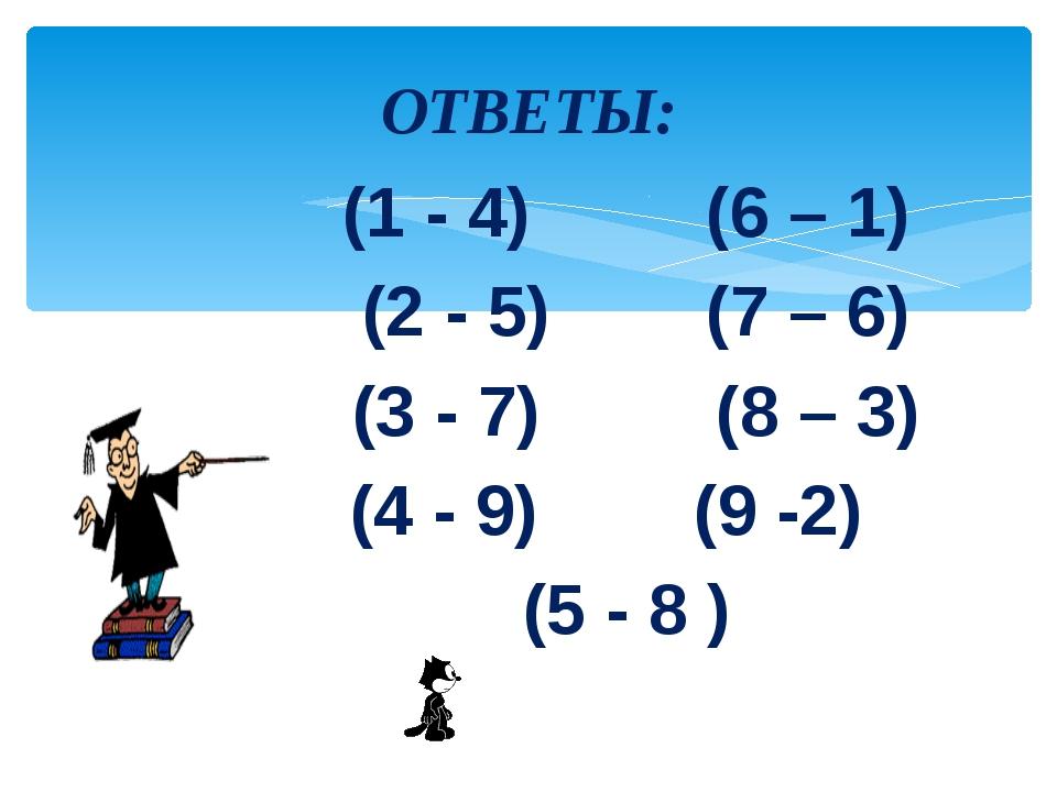 ОТВЕТЫ:           (1 - 4)         (6 – 1)            (2 - 5)        (7 – 6)...