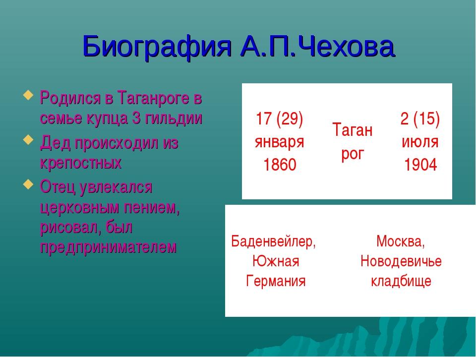 Биография А.П.Чехова Родился в Таганроге в семье купца 3 гильдии Дед происход...