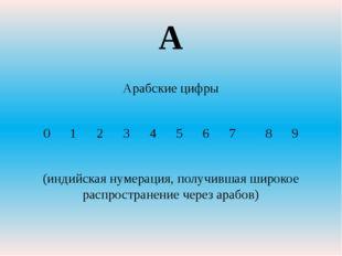 Арабские цифры 0 1 2 3 4 5 6 7 8 9 (индийская нумерация, получившая широкое р
