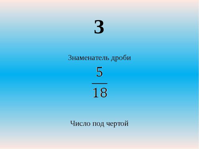 Знаменатель дроби Число под чертой З