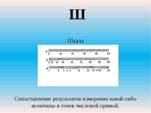 Шкала Сопоставление результатов измерения какой-либо величины и точек числов...