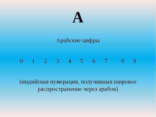 Арабские цифры 0 1 2 3 4 5 6 7 8 9 (индийская нумерация, получившая широкое р...