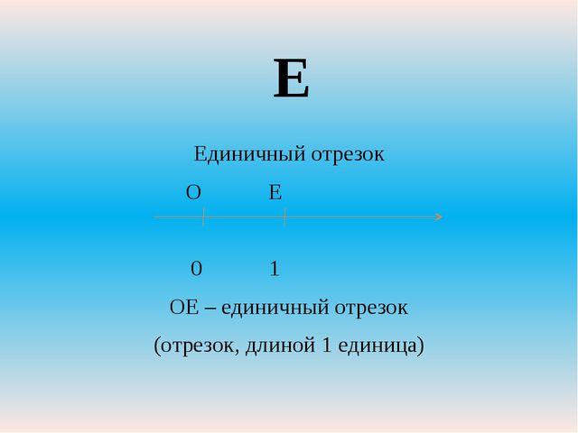 Единичный отрезок О Е 0 1 ОЕ – единичный отрезок (отрезок, длиной 1 единица) Е