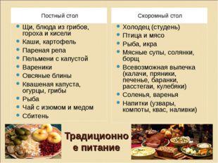 Традиционное питание Постный стол Скоромный стол Щи, блюда из грибов, гороха
