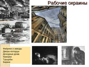 Рабочие окраины Фабрики и заводы Дворы-колодцы Доходные дома Каморки Трущобы