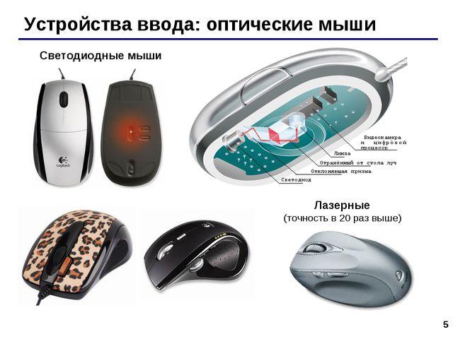* Устройства ввода: оптические мыши Светодиодные мыши Лазерные (точность в 20...