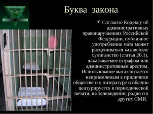 Буква закона Согласно Кодексу об административных правонарушениях Российской