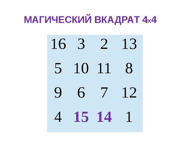 МАГИЧЕСКИЙ ВКАДРАТ 4Х4 16 3 2 13 5 10 11 8 9 6 7 12 4 15 14 1