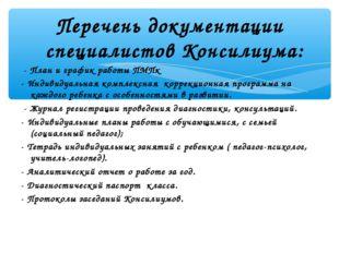 Перечень документации специалистов Консилиума: - План и график работы ПМПк -