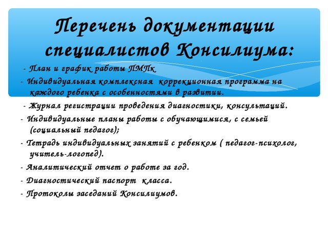 Перечень документации специалистов Консилиума: - План и график работы ПМПк -...