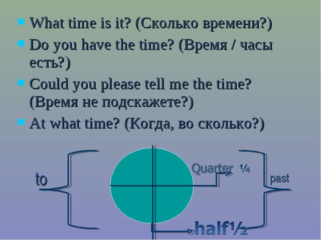 What time is it? (Сколько времени?) Do you have the time? (Время / часы есть?...