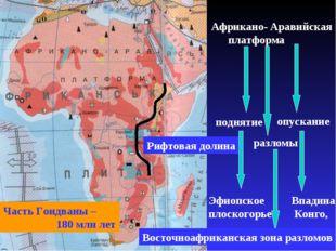 Часть Гондваны – 180 млн лет Африкано- Аравийская платформа поднятие опускани