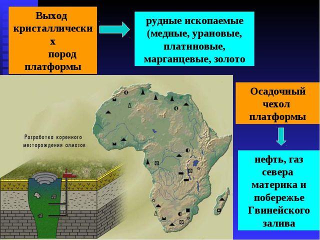 Выход кристаллических пород платформы рудные ископаемые (медные, урановые, пл...