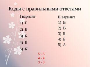 Коды с правильными ответами І вариант Г В Б В Б ІІ вариант В В Б Б А 5 - 5 4