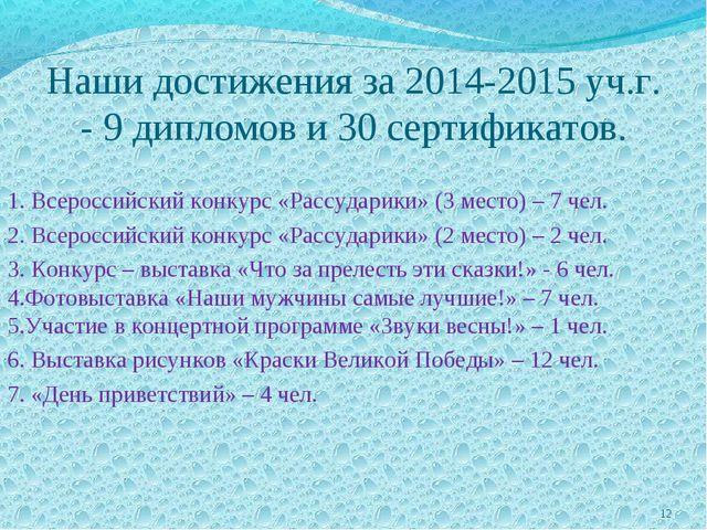 Наши достижения за 2014-2015 уч.г. - 9 дипломов и 30 сертификатов. 1. Всеросс...