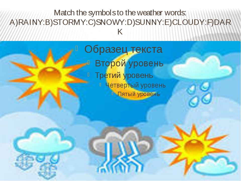 Match the symbols to the weather words: A)RAINY:B)STORMY:C)SNOWY:D)SUNNY:E)CL...