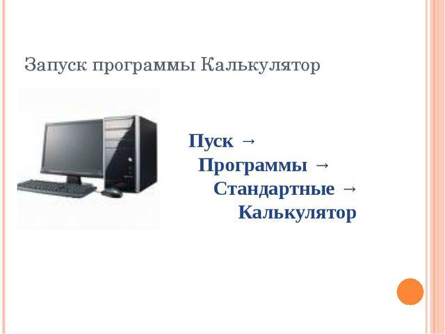 Запуск программы Калькулятор Пуск → Программы → Стандартные → Калькулятор